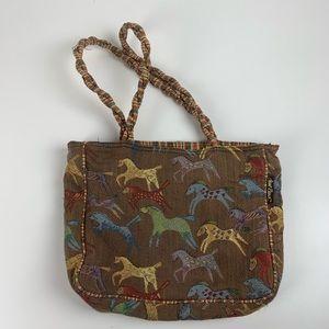 Laurel Burch Native Primitive Art Horse Print Bag